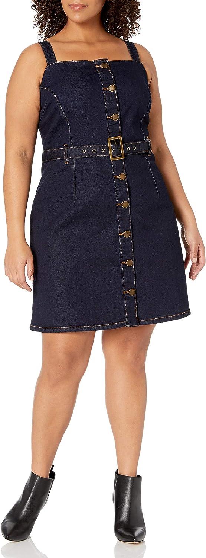 City Chic Women's Apparel Women's Plus Size Denim Dress with Belt and Button-Down Detail