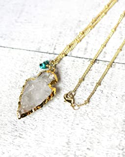 Pendant Necklace with Clear Quartz Arrowhead and Turquoise Gemstone 20 Inch Length