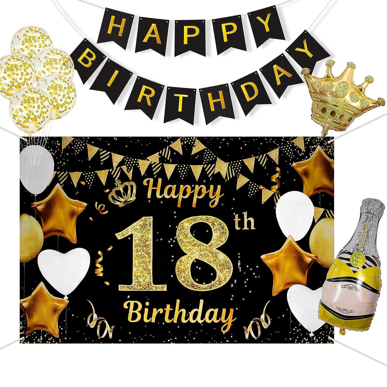 18 Años Decoración de Fiesta de Cumpleaños de Oro Negro, Taumie Póster de Tela Cartel Extra Grande para 18 Aniversario Feliz Cumpleaños Pancarta, Banderas de Cumpleaños, 7 Pcs Globos de Cumpleaños