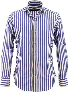 [GIANNETTO ジャンネット] メンズ スリムフィット カッタウェイ コットン ロンドンストライプシャツ WASH SLIM FIT 262300L84 004(ブルー)