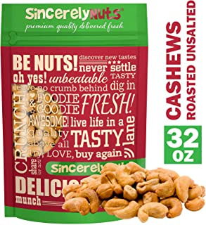 Sincerely Nuts – Whole Cashews Roasted and Unsalted | Two Lb. Bag | Deluxe Kosher Snack Food | Healthy Source of Protein, Vitamin & Mineral Nutritional Content | Gourmet Quality Vegan Cashew Nut