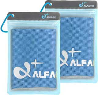 Alfamo 2 Pack Cooling Towels (Blue/Gray, S) Multipack Cooling Neck Towels Wraps Chilly Chill Towels Soft Instant Cold Head...