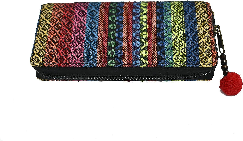 Vegan Wallet, Geometric Wallet, Women Wallet, Hippie Wristlet, Pom Pom Wallet, Bohemian Wallet, Zipper Wallet, Tribal Wallet