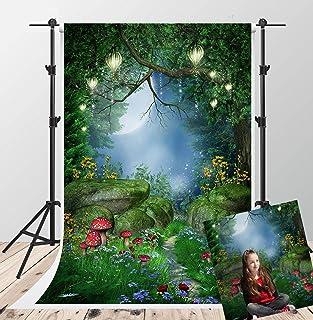 Kate 5x7ft Fairytale Fotografie Hintergründe Traumhafte Wald Hintergrund Beleuchtung rot Pilz Photo Booth Kulisse Video