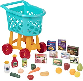 Battat Grocery Cart – Deluxe Toy Shopping Cart with Pretend Play Food Accessories for Kids 3+ (23Piece)