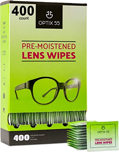 Eyeglass Cleaner Lens Wipes - 400 Pre-Moistened Individual Wrapped Eye Glasses Cleaning Wipes | Glasses Cleaner Safel...