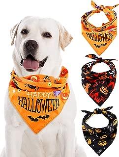 3 Pieces Halloween Dog Triangle Scarf Pet Bandanas Pumpkin Bat Ghost Drool Bibs Scarf for Pet Dog Cat