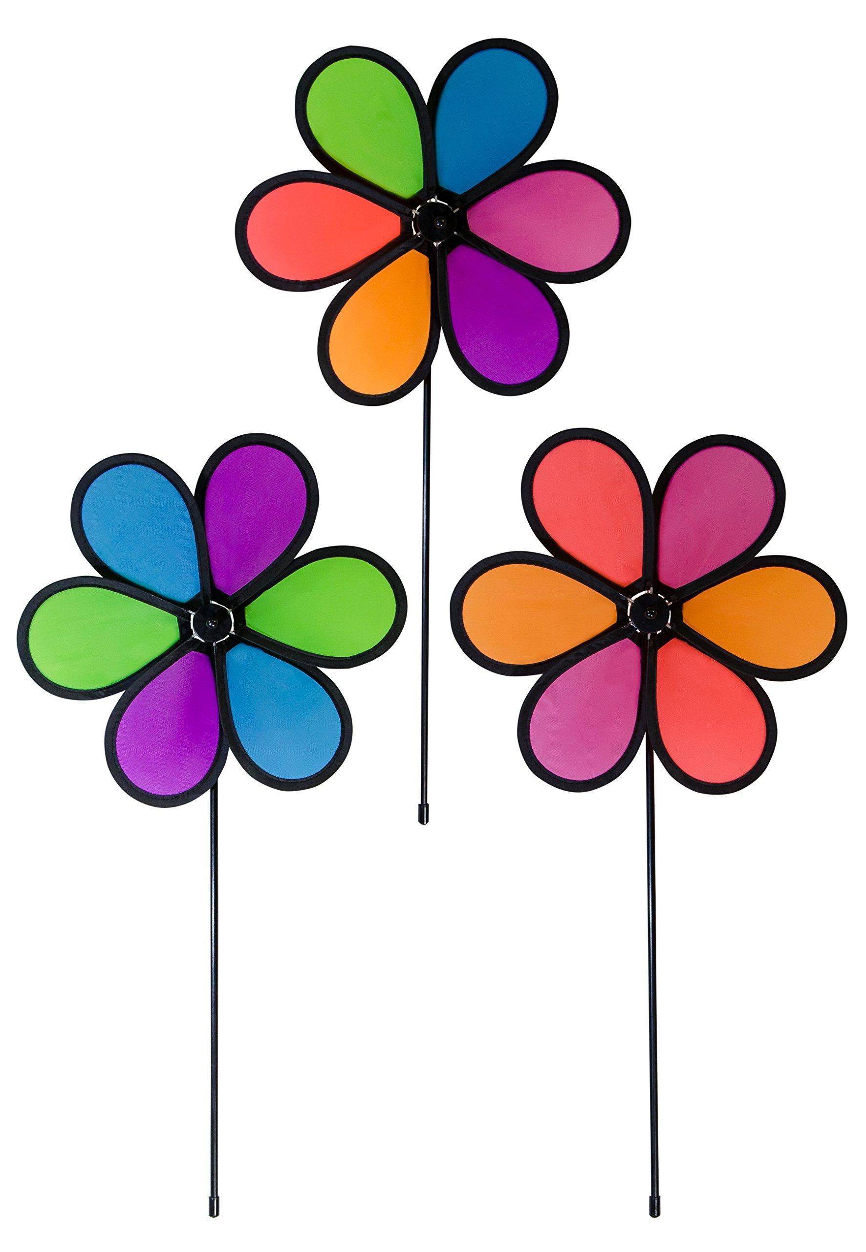 En la brisa 10 Inch neón flores Spinner – 3 Pack – colores viento Spinners para su patio y jardín: Amazon.es: Jardín