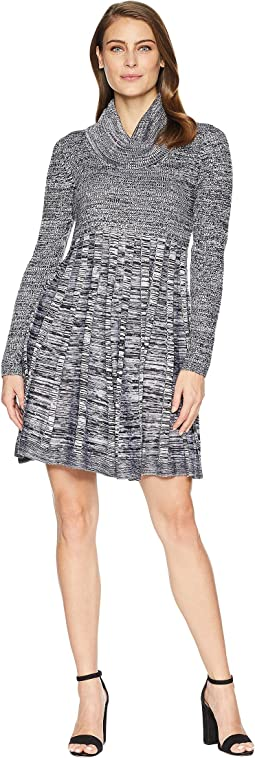 Marled Cowl Neck Fit & Flare Sweater Dress CD8W2PU5