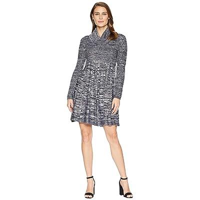 Calvin Klein Marled Cowl Neck Fit Flare Sweater Dress CD8W2PU5 (Black/White) Women