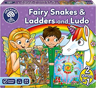 Orchard Toys Fairy Snakes and Ladders with Ludo Game, Multi Colour