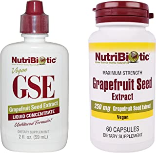 NutriBiotic Grapefruit Seed Extract Liquid Concentrate and Grapefruit Seed Extract Maximum Strength Capsules Bundle with V...