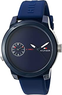 Tommy Hilfiger Men's 'Denim' Quartz Plastic and Rubber Casual Watch, Color:Blue (Model: 1791325)