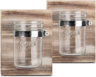 HOMKO Rustic Mason Jar Candle Holder Candle Sconces - Small Mason Jar Planter Set - Pair Mason Jar Organizers (Set of Two)