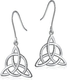 925 Sterling Silver Good Luck Irish Trinity Celtic Knot Triangle Vintage Dangle Drop Earrings