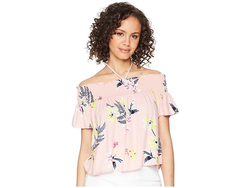 Jack by BB Dakota Jordyn Golden State Floral Printed Off the Shoulder Top (Coral Pink) Women