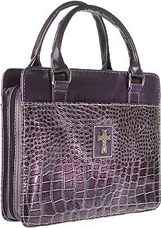 Purple Metallic Croc Purse-Style Bible / Book Cover w/Cross (Large)