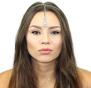 Crystal Tikka Chain Headpiece Made with Swarovski Crystals (Silver)