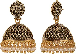 Indian Bollywood Bridal Designer Jewelry Oxidized Gold Plated Traditional Jhumka Jhumki Hoop Earrings for Women and Girls