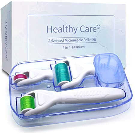 4 in 1 Derma Roller Kit for Face and Body - Healthy Care Cosmetic Titanium Micro Needle Microdermabrasion Roller- Includes 3 Extra Replaceable Heads and Storage Case