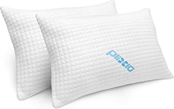 2 Pack Shredded Memory Foam Bed Pillows for Sleeping - Bamboo Cooling Hypoallergenic Sleep Pillow for Back and Side Sleeper - Queen Size