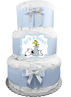 It's a Boy Diaper Cake - Baby Shower Gift - Large Centerpiece - Snoopy - Blue and Gray