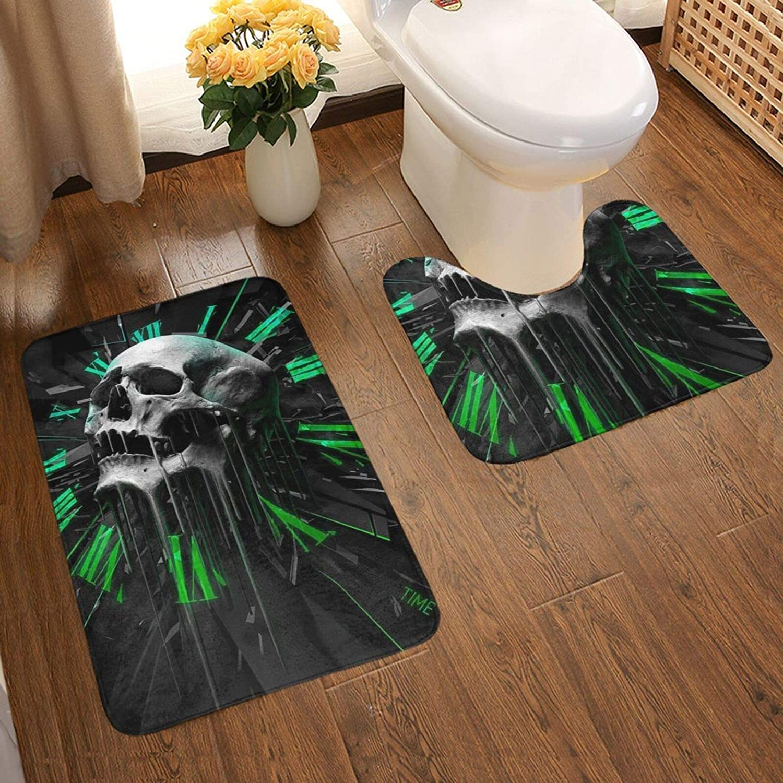 Bathroom 5 popular Rugs Set Mail order Time Skull Art Contoured U-Shape M Toilet Soft