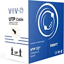 VIVO Black 500ft Bulk Cat6, CCA Ethernet Cable, 23 AWG, UTP Pull Box | Cat-6 Wire, Waterproof, Outdoor, Direct Burial (CABLE-V012)