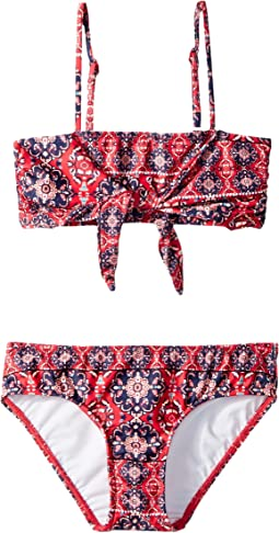 Marrakesh Sunset Tie Front Mini Tube Bikini (Big Kids)