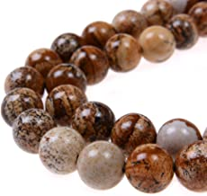 PLTbeads 8mm Natural Picture Jasper Gemstone Round Loose Beads Approxi 15.5 inch 48pcs 1 Strand per Bag for Jewelry Making Findings Accessories