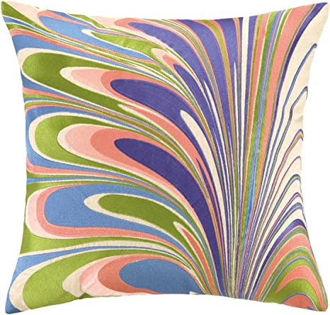 D L Rhein 20 By 20 Inch Marbled Madness Embroidered Decorative Pillow Large Navy Turquoise Home Kitchen