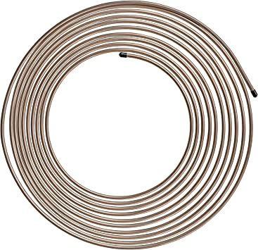4LIFETIMELINES True Copper-Nickel Alloy Non-Magnetic Brake Line Tubing Coil - 3/8 Inch, 25 Feet: image