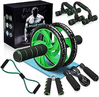gracosy 7-i-1 ABS-hjulrullar kit med 2 push-up stång, hopprep, handgripare, knäskydd och tonermotståndsband hem och gym pe...