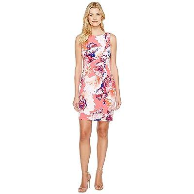 Calvin Klein Printed Draped Front Dress (Coral Multi) Women