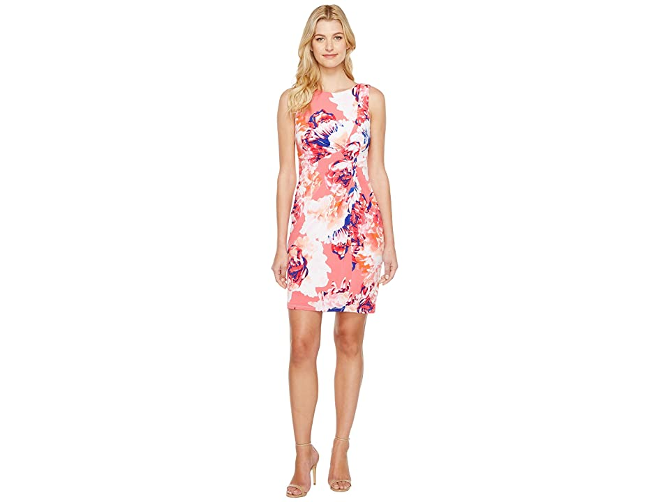 Calvin Klein Printed Draped Front Dress (Coral Multi) Women