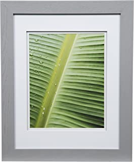 Gallery Solutions Photo 11x14 Flat Grey Wall Frame with Double White Mat for 8x10 Picture, 11