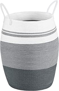 """Miclotus Laundry Hamper Woven Cotton Rope Large Dirty Clothes Hamper with Cotton Handles 25.6"""" Height Tall Foldable Laundr..."""