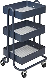 ECR4Kids 3-Tier Metal Rolling Utility Cart - Heavy Duty Mobile Storage Organizer, Navy
