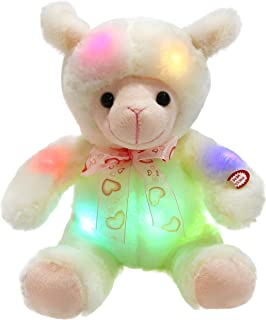WEWILL LED Lamb Stuffed Animal Sheep Soft Plush Toy Nightlight Companion Gift for Babies on Birthday Christmas, White, 9 Inch