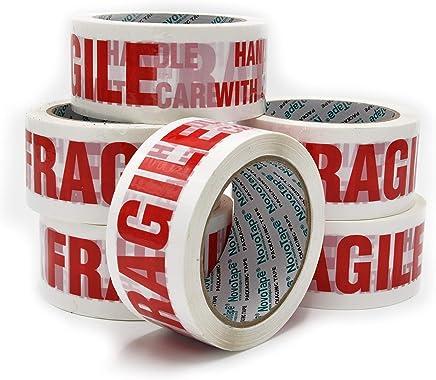 NOVOTAPE Lot de 6 Rouleaux de Rubans adhésif d'emballage 48mm x 66m, blanche Fragile de couleur. Parfait pour fermer et sécuriser les cartons de déménagement et emballages lourd