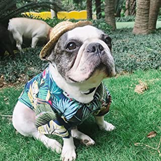 YOUDirect Pet Hawaiian Shirt Dog Summer T-Shirt Puppy Clothing Hawaiian Breeze Seaside Resort Style French Bulldog Pug Beachwear