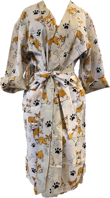 Reversible Corgi Dog Cotton Robe