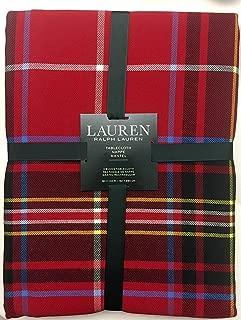 RALPH LAUREN Lauren Baker Plaid Red 60 x 84 Inch Tablecloth Christmas Holiday