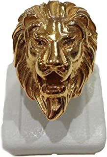 Testa di Leone - Anello in argento, doratura, pietre bianche - AN11/A