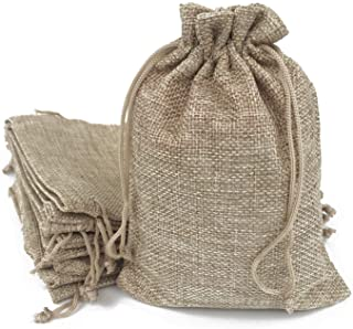50PCS Burlap Bags with Drawstring Gift Jute bags Included Cotton Lining (Natural, 10X14)