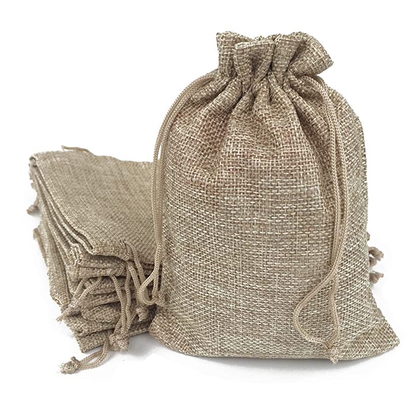 50PCS Burlap Favor Gift Bags with Drawstring and Cotton Lining (9X12CM, 01 Natural)