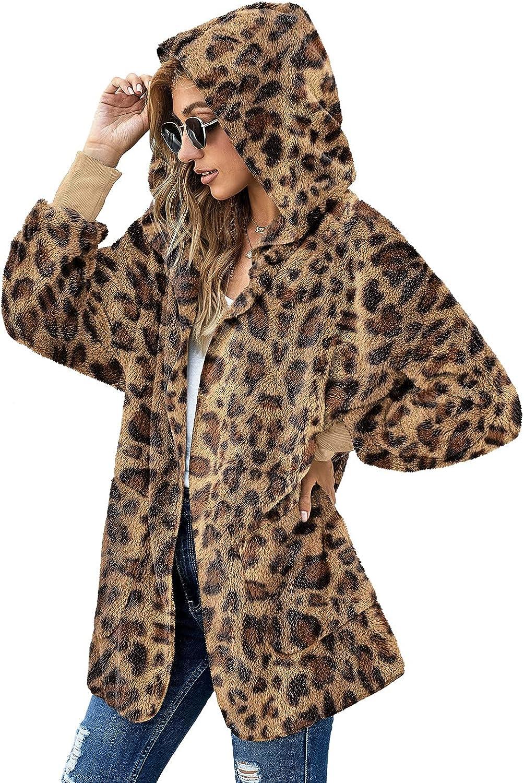 Lookbook Store Womens Open Front Fleece Cardigan Coat Oversized Hooded Outerwear