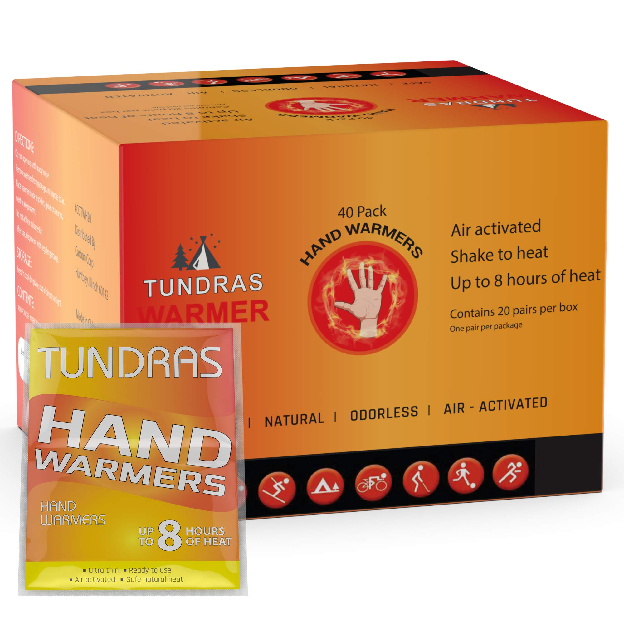 HOT HANDS HAND WARMERS 20 PAIRS Pocket Glove Warmer Disposeable NEW