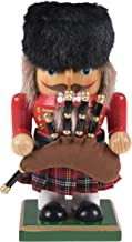 Clever Creations Traditional Chubby Scottish Nutcracker Collectible Short Nutcracker | Plaid Skirt & Bagpipes | Christmas Decor | Perfect for Shelves & Tables | 100% Wood | 7