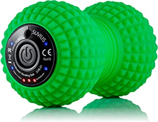 SUVIUS Peanut Electric Vibrating Rechargeable Foam Roller - 4 Intensity Levels for Firm Battery-Powered Deep Tissue Recovery, Training, Massage - Therapeutic Back and Muscle Massage Roller